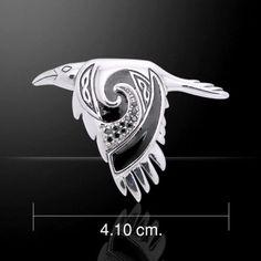 - Celtic Raven in Flight Pendant in Sterling Silver with enamel & choice of gemstone. Celtic knotwork and gemstones adorns the Raven in flight pendant. Black enamel adds a tou Celtic Raven, Celtic Art, Celtic Symbols, Native Art, Native American Art, Irish American, Vikings, Raven Art, Crows Ravens