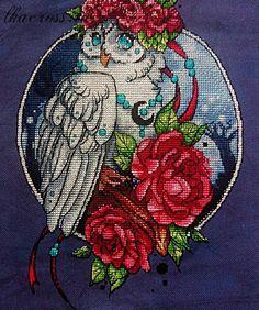 Схема для вышивки крестом Сова. Отшив.