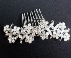 Vintage Floral Crystal Hair Comb - wedding jewellery