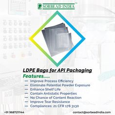 #LDPEbags are best for storing and transporting the #API in the #powdered, #beads or any other form without any #harmful effects of external #environmental conditions. contact@sorbeadindia.com +91 9687211144 Conditioner, Environment, Packaging, Beads, Life, Beading, Bead, Wrapping, Pearls