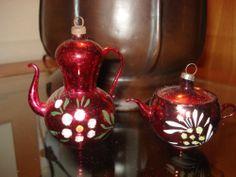 2 Vintage Antique Mercury Glass Blown Teapot Tea Christmas Ornament Pink Red | eBay