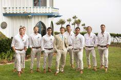 Casual groomsmen look with khaki groom suit and blue long tie   Groom Style: 12 Men Whose Wedding Style Is On Point via @insideweddings