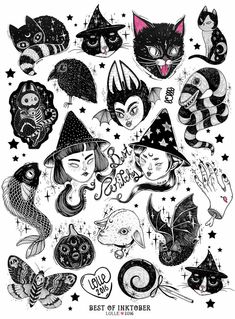 Creepy Cool flash tattoo sheet