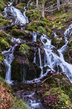 Bethmale Waterfalls, Parc naturel regional des Pyrenees Ariegeoises, France by…