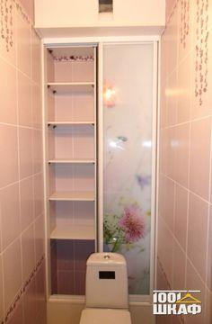 Встроенный шкаф в уборную с фотопечатью - встроенный в нишу шкаф купе   Галерея по мебели на заказ и шкафам купе   Компания 1001 шкаф