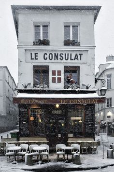 Le Consulat - Montmartre under snow | Photo by Peter Crane | via lovelyclustersblog.com
