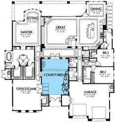 Rear Courtyard House Plans | Plan W16359MD: Mediterranean, Florida,  European, Southwest House Plans ...: