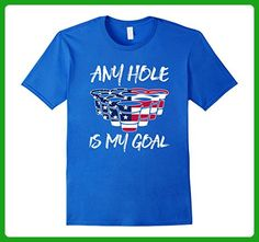 Mens Any Hole Is My Goal Fourth of July Beer Flip A Cup Pong Tee XL Royal Blue - Holiday and seasonal shirts (*Amazon Partner-Link)