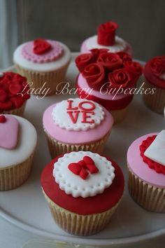 Lady Berry's Valentine Cupcakes Fondant Cupcakes, Berry Cupcakes, Berry Cake, Fun Cupcakes, Cupcake Cookies, Valentines Cakes And Cupcakes, Valentines Day Cakes, Valentine Cookies, Cupcakes Design