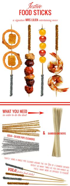 These festive food sticks would be so much fun for wedding hors d'oeuvres, via @Mrs. Lilien