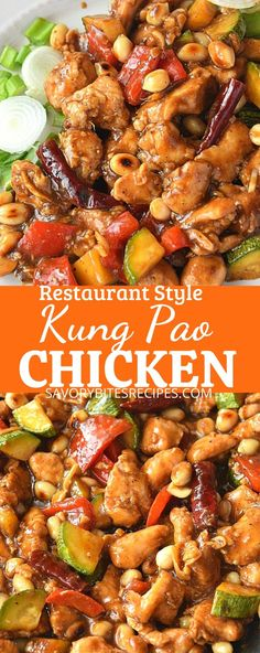chinese food Best,easy and authentic kung pao chicken recipe- juicy chicken chunks tossed with bell peppers,chili peppers, zucchini and peanuts in kung pao chicken sauce to make an extrem Kung Pao Chicken Recipe Easy, Chicken Recipes Juicy, Authentic Chinese Recipes, Chinese Chicken Recipes, Easy Chinese Recipes, Asian Recipes, Healthy Recipes, Chinese Fried Recipe, Chicken Recipes