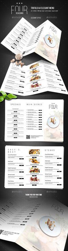 Four Seasons Trifold Minimal Menu — Photoshop PSD menu Restaurant Menu Template, Restaurant Menu Design, Vintage Interior Design, Vintage Designs, Print Templates, Psd Templates, Vintage Menu, Wedding Vintage, Menu Flyer