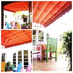 #awnings #slideonwire #homedecor #patio #outdoor #exteriordesign #sunbrella #canvas #fabrics Exterior Design, Pergola, Outdoor Structures, Patio, Canvas, American, Home Decor, Tela, Decoration Home