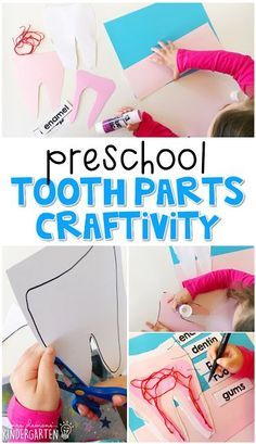Preschool: Healthy Habits This tooth parts craft incorporates lots of fine motor skills practice as well as new vocabulary. Great for a healthy habits or dental health theme tot school, preschool, or even kindergarten! Kindergarten, Preschool Curriculum, Preschool Learning, Learning Activities, Preschool Activities, Homeschooling, Body Preschool, Preschool Lessons, Early Learning