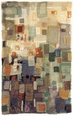 """Facade VI"" 21″ x 33″ ""Façade VI"" is part of my series focused on transparency, texture, shape and line. I have used loosely woven scrim, and a variety of sheer and textured materials ranging from hand-dyed silks to burlap to screening. It is all stitched to sheer silk organza, creating subtle color and value shifts as one color is placed to overlap another."