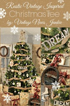 Rustic Vintage Inspired Christmas Tree #Holiday #Christmas
