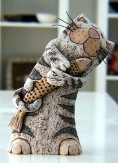 by Gappa Handmade Pottery - Home Paper Mache Clay, Paper Mache Sculpture, Sculptures Céramiques, Pottery Animals, Ceramic Animals, Clay Animals, Clay Cats, Paperclay, Cat Crafts