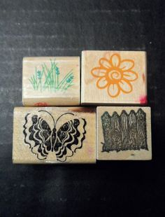 Rubber Stamp Lot 4 Four Butterfly Flower Wild Grass Picket Fence Garden  #Assorted #Background