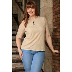 Stand out from the crowd and make them believe that you are special Beige Stretchy La... Check what we have for you !  http://ladieswishlist.com/products/beige-stretchy-lace-3-4-sleeve-stylish-dressy-top-women-plus-size?utm_campaign=social_autopilot&utm_source=pin&utm_medium=pin