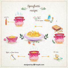 Hand painted spaghetti recipe Free Vector