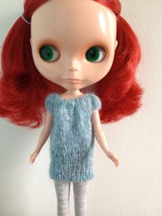 Handmade Knitted Blythe Doll Mini Dress in Blue by ChassyKnitLove, $16.00