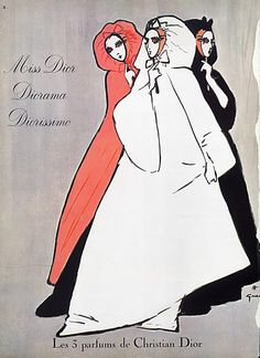1961 | Christian Dior (Perfumes), Miss Dior, Diorissimo, Diorama | by René Gruau |