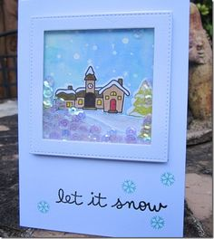 Glitter Angel: Shaker card using Lawn Fawn Snowy Backdrop stamp.