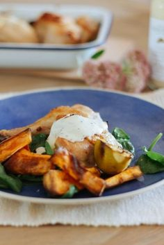 Chicken, Lime and Baby Spinach Salad with Sweet Potato Wedges and Ranch Dressing