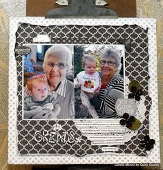 49 Shades of Inspiration with Connie! Hi, Connie here with a scrapbook page using the 49 Shades of Grey Collection by Quick Quotes. This is a great collection of black, grey and white color tones that work perfect with the other collections by Quick Quotes.