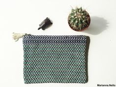 Green and blue cotton zipper, Handwoven pouch, fashion accessories, small bag, purse, travel essential, make-up bag, organizer, unique woven by MariannaNelloTextile on Etsy  #textile #handwoven #organizer #textiledesign #weaving #green