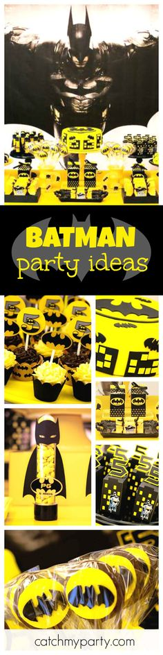 Check out this fantastic Batman birthday party! The dessert table is awesome!! See more party ideas and share yours at CatchMyParty