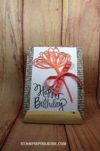 Stampin' Up! CAS birthday card made with Sunshine Wishes Thinlit Die stamp set and designed by Demo Pamela Sadler. See more cards at stampinkrose.com #stampinkpinkrose