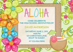 Luau Birthday Invitation Tropical Hawaiian Hula Party - Printable Custom Invite. $16.00, via Etsy.
