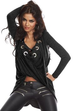 Black Lace Up adjustable string Chic Pullover Shirt