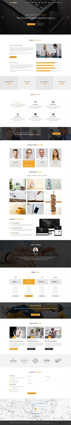 ZeroPoint is clean and modern design #onepage #PSD template for multipurpose #business website download now..