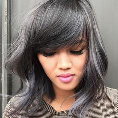 ONESHOT color melt finalist Hai Tran ( owner of Hai Salon in Wichita, Kan., is a master at lush colors and silky, polished styles. He's also highly skilled at major transformations (… 490188740693626666 Silver Ombre Hair, Dark Silver Hair, Silver Hair Styles, Metallic Hair Color, Silver Blonde, Lilac Hair, Pastel Hair, Green Hair, Blue Hair