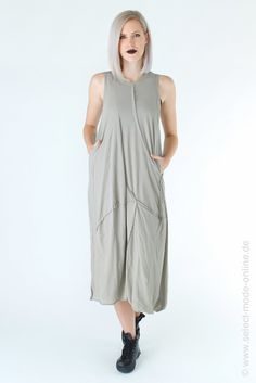 Exceptional jersey strap dress with long attached sleeves in desert blank from Rundholz Dip. Details: - Open edges at hem - Sleeve hem and neckline trimmed