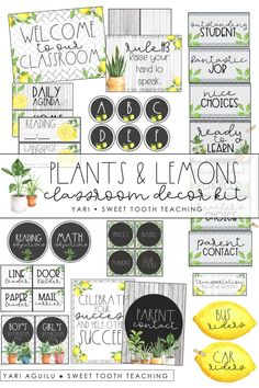 Plants & Lemon Theme Classroom Decor Kit Create a farmhouse themed classroom with this adorable plants and lemons theme classroom decor kit! Includes everything . Classroom Decor Themes, Classroom Rules, New Classroom, Classroom Setup, Classroom Design, Classroom Organization, Classroom Management, Classroom Board, Binder Organization