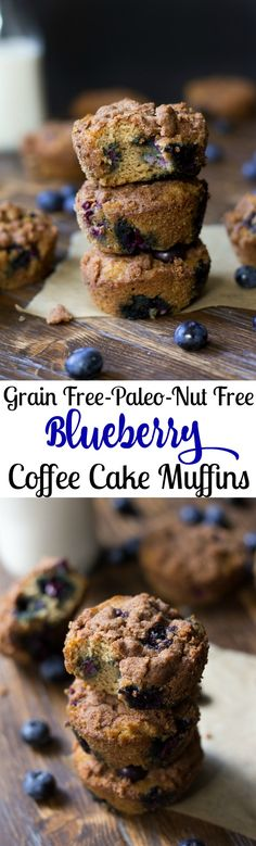 Grain free and Paleo Blueberry Coffee Cake Muffins with cinnamon crumb topping.  Made with coconut flour, these are nut free, great to make ahead and very kid friendly!