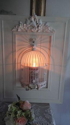 Cage romantique et Applique bougeoirs murale blanc colombe style Shabby chic : Luminaires par les-intemporels