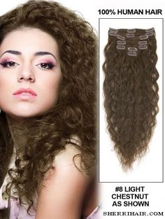 """18"""" 7 Piece French Wave Clip In Human Hair Extension - Light Chestnut(#8)"""