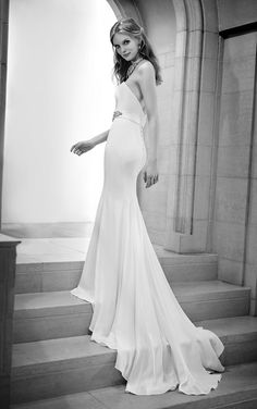 """Learn more about this modern Silk sheath wedding dress from Martina Liana featuring a sweetheart neckline and a detachable 2.5"""" French Satin Ribbon belt with embellishments."""