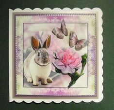 Bunny in Pink surroundings on Craftsuprint designed by Bodil Lundahl - made by Jayne Jones - I printed the sheet onto glossy photo paper, cut out the and attached using foam pads. I then mounted onto purple card and a mink pearleascent card before attching to a white card blank. I finished by edging with silver peeloffs. - Now available for download!