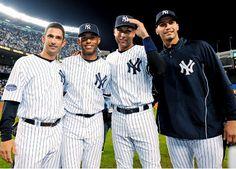 Derek+Jeter%2C+Jorge+Posada%2C+Andy+Pettitte+%26amp%3B+Mariano+Rivera+carry+Yankees%26%23039%3B+banner