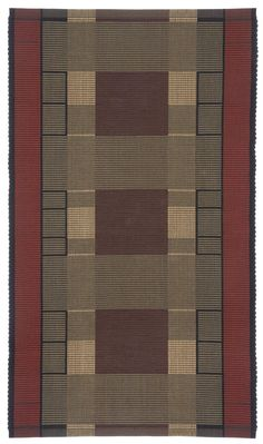 Wright by Kelly Marshall. Handwoven *rep weave* rug, 95; cotton/5; linen, reversible, machine wash cold water and line dry. Original Arts & Crafts design.