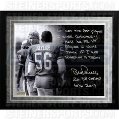 Bill Parcells Facsimile On Lawrence Taylor Framed Metallic 16x20 Story Photo