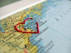embroider a map. an idea for scrapbook layout (or frame) Travel Scrapbook, Scrapbook Pages, Scrapbook Photos, Scrapbook Ideas For Couples, Wedding Scrapbook, Valentine Love, Arts And Crafts, Paper Crafts, Diy Crafts