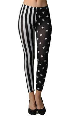 Black & White American Stars & Stripes Flag Leggings