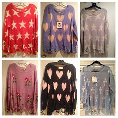 My Wildfox White Label Collection Lennon Distress Not sure if I want to sell yet but make me an offer - all bought for close to $300 retail, size Medium or Large ( ask for size ) Wildfox Sweaters