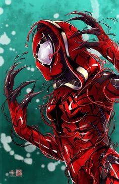 Gwen/Carnage © Tyrine Carver and Wil Woods of Musetap Studios Venom Comics, Marvel Comics Art, Marvel Heroes, Marvel Characters, Fictional Characters, Venom Girl, New Venom, Polaris Marvel, Symbiotes Marvel